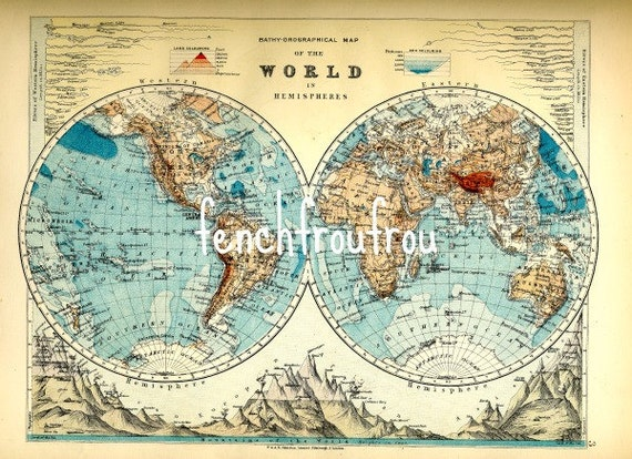 antique victorian map of the world lithograph art poster digital download