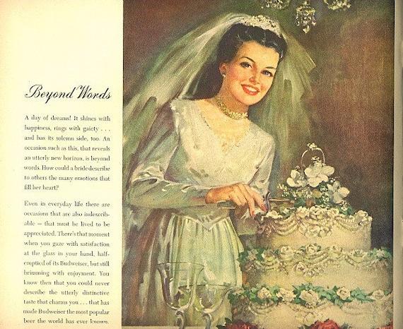 vintage 1946 advertisement wedding cake bride budweiser
