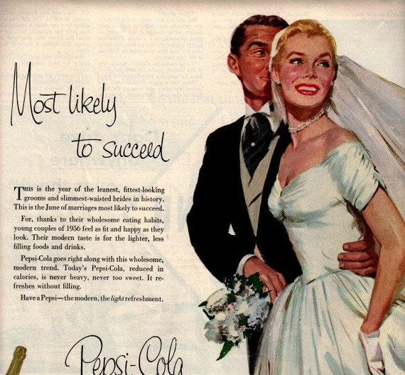 vintage pinup wedding 1958 advertisement pepsi cola