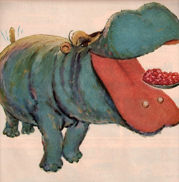 vintage hippo animal 1954 advertisement jello