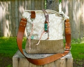 Leather HoBo Bag Purse . Flowers . Turquoise . Upholstery Recycled . Purse .