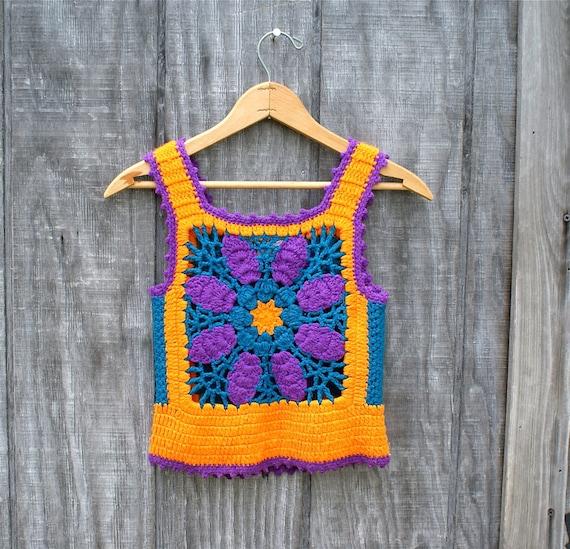 Vintage Crocheted Vest 1970s Hippie Charlies Girls