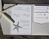 Starfish Wedding Invitation - Pocketfold Beach Elegant Classic Ocean Sea with Purple and White.  Purchase this Deposit to get started.