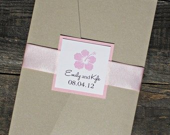 Hibiscus Pocketfold Wedding Invitation - Pink Tropical Hawaiian Beach Floral with Ribbon Belly Band. Purchase this Deposit to get started.
