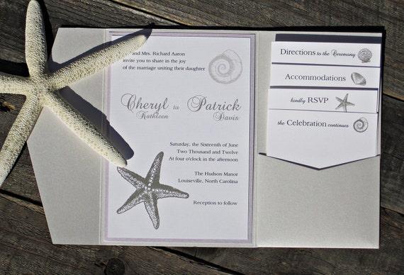 Starfish Wedding Invitation Kit: Starfish Wedding Invitation Pocketfold Beach Elegant Classic