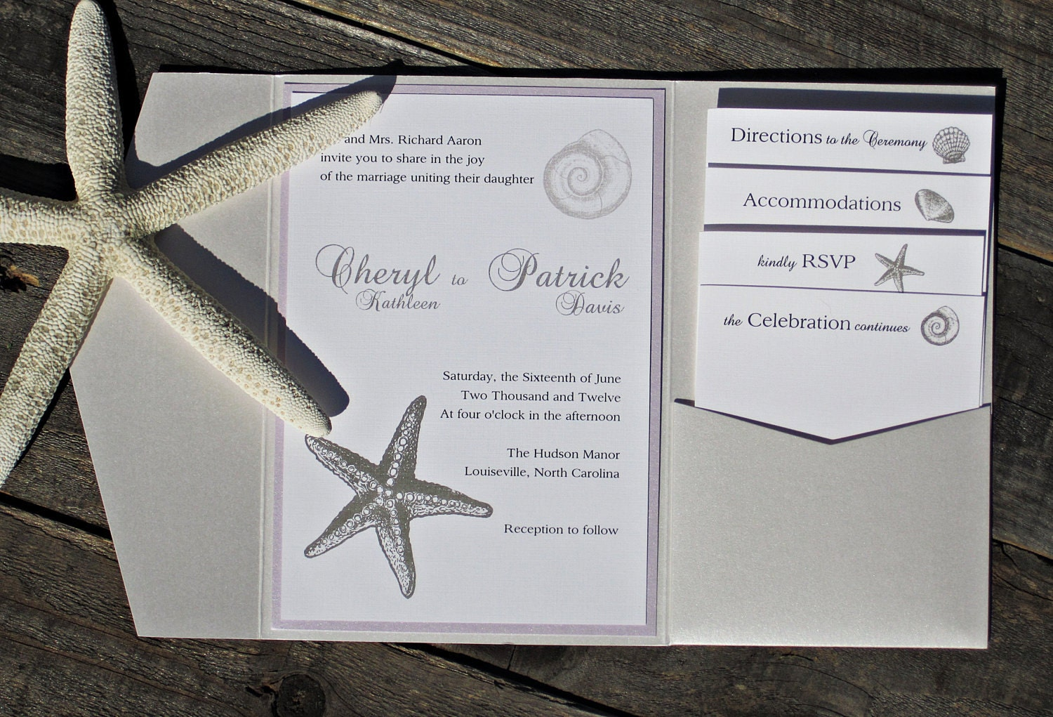 Beach Themed Wedding Invitations Templates: Starfish Wedding Invitation Pocketfold Beach Elegant Classic
