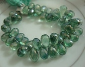 Mystic Green Quartz Faceted Drops 4 Matched Pairs 9.5-10x7mm