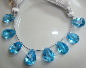 LUXE Collection Breath Taking AAA-AAAA German Swiss Blue Topaz Double Side Concave Cut Briolettes 11-14mm  Luxe Collection