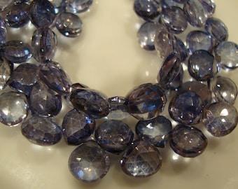 Mystic Iolite Blue Quartz Heart Shape Brio  8 mm 10 Beads
