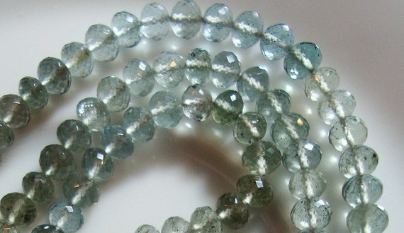 AAA Moss Aquamarine Rondelles  8 Inch Strand 5mm Diameters and 3 to 5mm Thickness