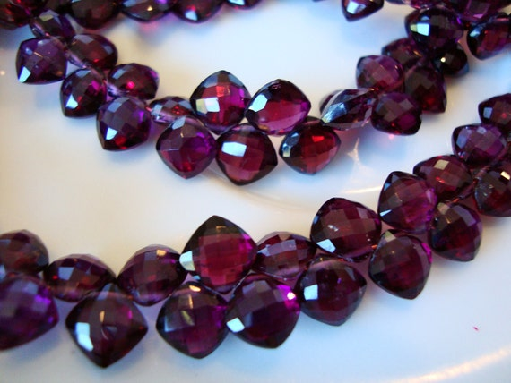 Exquisite AAA RUBILITE  Garnet Micro Faceted Cushion Shape Briolette 2 Inch Strand  16 pcs