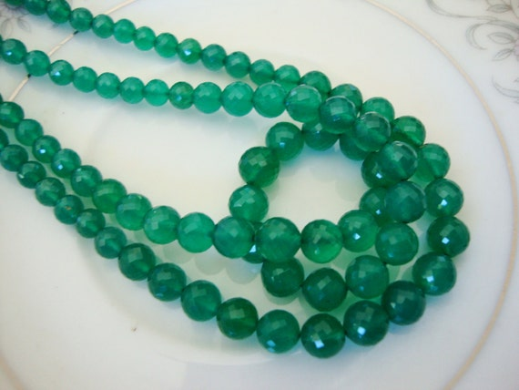AAA Emerald Green Onyx Micro Faceted Rondelle 8 Inch Strand  4 to 6.5 mm