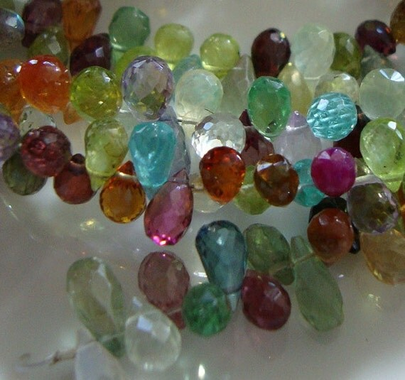 Gorgeous Semiprecious Stones Baby Drop Briolettes  1/2 Strand