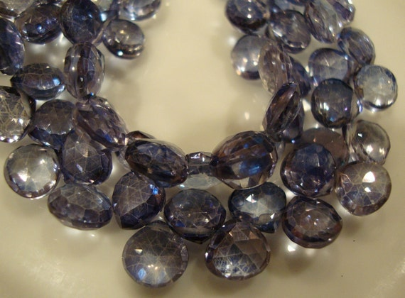 Mystic Iolite Blue Quartz Heart Shape Brio  8 mm 10 Beads