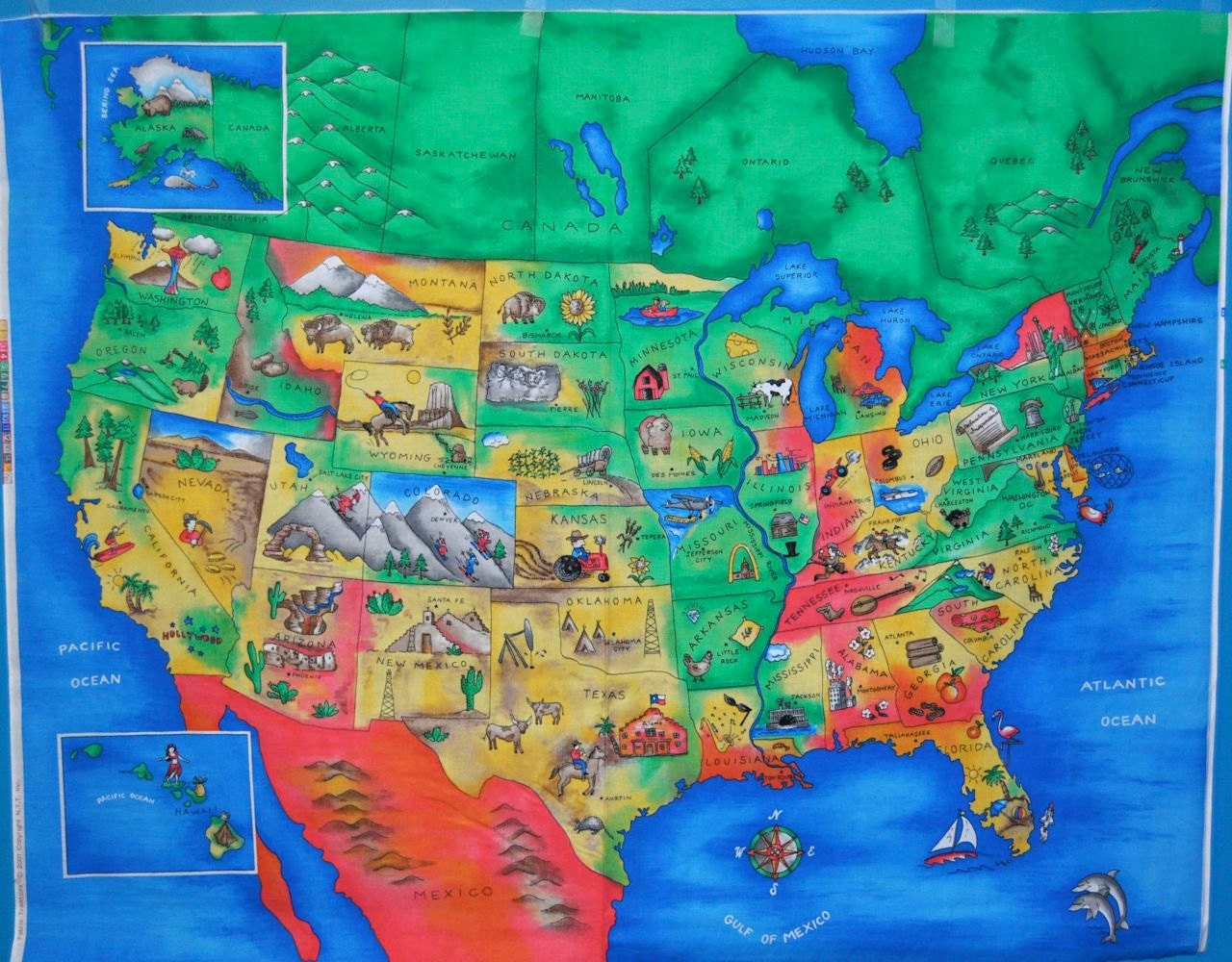 Usa Map With Landmarks Usa Get Free Image About World Maps - Usa map showing states