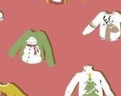 Heather Ross, Munki Munki Holiday Sweaters on flannel, one leg panel