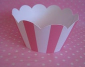 CUPCAKE WRAPPERS - STRIPE - PINK