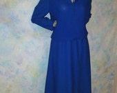 Vintage 1980s Dress Blue accordian Office Cute elastic waist 10-14