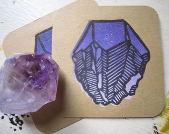 Amethyst Crystal Original Block Print