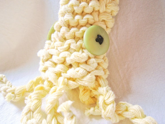 Squid Pipe Cozy -- Pale Yellow Cotton, Small