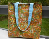 Tote Bag - Market Bag - Handmade Tote - Retro Paisley Vintage Fabric - Lined Tote