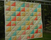 "Patchwork Quilt - Turquoise, Yellow, Coral and Ivory  32"" Square - Mini Quilt"