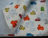 Baby Boy Blanket - Crib Blanket - Blue Baby Blanket - Cars, Trucks and Tractors Blanket - Reversible