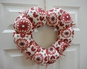 Heart Wreath - Red and Ivory Fabric Valentine Wreath, Large