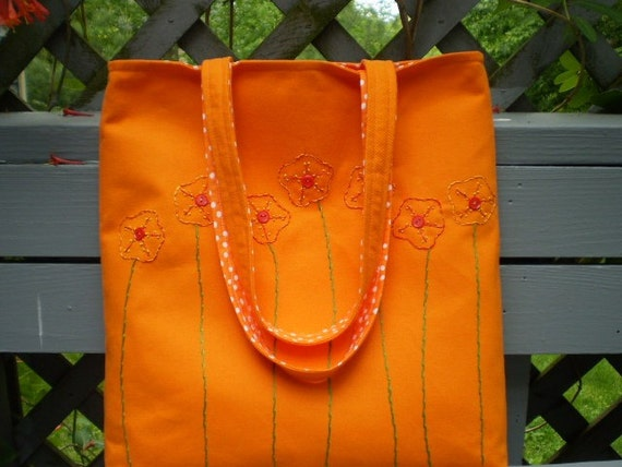 Canvas Tote - Tangerine Orange Tote Bag - Market Bag - Embroidered Flowers - Fully Lined