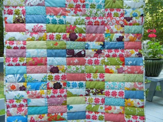 Patchwork Quilt - Turquoise Green and Coral Rectangles - Butterflies and Flowers - Mini Quilt