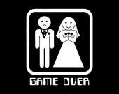 Funny wedding t shirt GAME OVER T Shirt funny tuxedo bachelor party humor Black