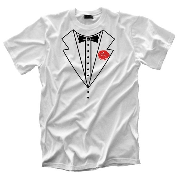 White Tuxedo tshirt Tux funny prom halloween costume wedding Bachelor Party t shirt