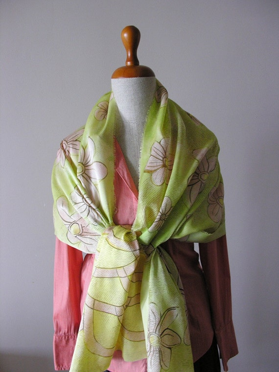 Hand painted- silk scarf shawl- lime green- salmon pink flowers- long- bohemian- romantic- elegant- Flowers in the lime grass.