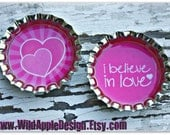 2-piece Valentine Bottle Cap Set - Love You and Heart (pink) - You Choose Pins or Magnets (6583)