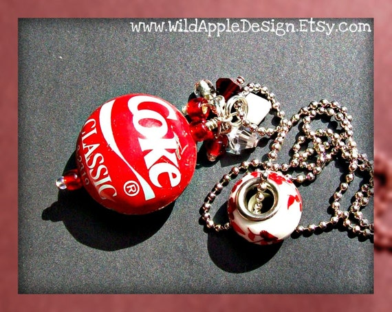 Bottle Cap Bead Necklace - Coke Classic - Hard To Find (11972)
