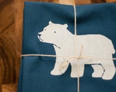 two tea towels - polar bear print on pool