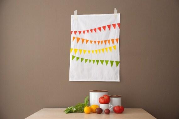 organic cotton tea towel - summer pennant print