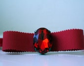 Red Velvet and Grosgrain bow headband with red jewel