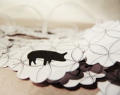 Handmade paper garland -Black and white animals-