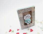 Handmade shadow box frame -Love in Baby Blue Velvet-
