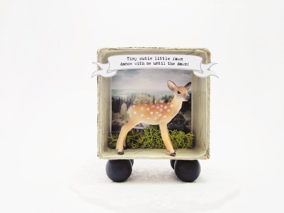 Shadow box frame -Tiny Cutie Little Fawn-