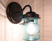 Vintage BLUE BALL Canning Jar SCONCES Created NEW
