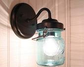 Vintage BLUE Canning Jar SCONCE Light