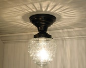 Island Falls. Glass CEILING LIGHT Clear Globe Reserved with pull chain switch