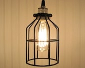 Industrial Cage PENDANT Light with Edison Bulb