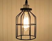 Auburn. Industrial Cage Inspired PENDANT Light with Edison Bulb