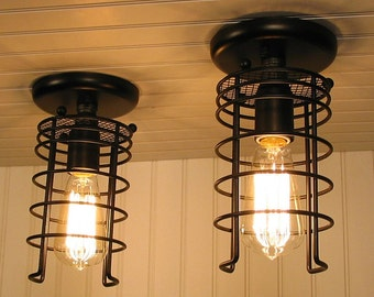 Auburn. PAIR Industrial Ceiling LIGHTS - Flush Mount Lighting Chandelier Pendant Track Fixture Farmhouse Rustic with Edison Bulb LampGoods