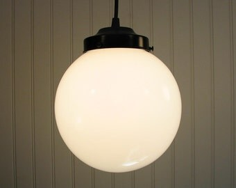 Winterport. Milk Glass PENDANT Light Large Globe
