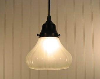 FROSTED Vintage Petal PENDANT Light - Farmhouse Flush Mount Lighting Fixture Kitchen Island Glass Light  LampGoods