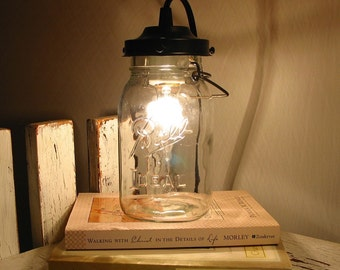 Mason Jar Lamp Table - Plug In Vintage Quart